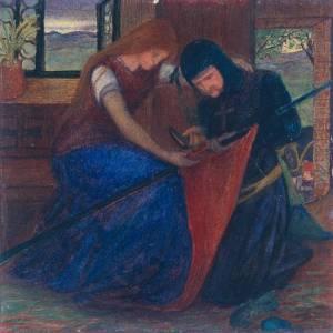 Lady Affixing Pennant to a Knight's Spear circa 1856 by Elizabeth Eleanor Siddal 1829-1862